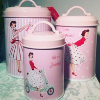 Mrs Smith Pink Vintage Lady 1950's Kitchen Tin Canisters - Set of 3